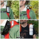 The SuperBand easily attaches to backpack straps for use while hiking
